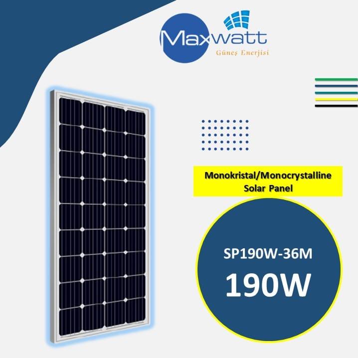 Monokristal Solar Panel 190W 36 Hücre MAXWATT YENİ ÜÇGEN ENERJİ