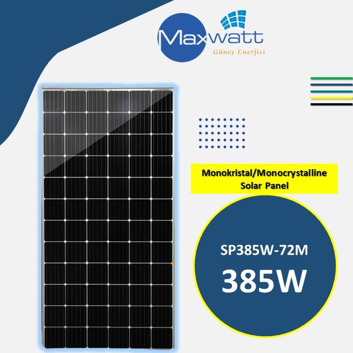 Monokristal Solar Panel 385W 72 Hücre MAXWATT YENİ ÜÇGEN ENERJİ